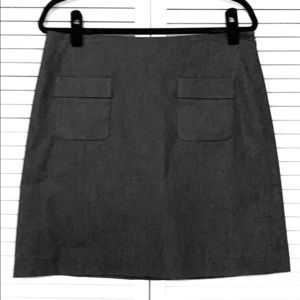 Loft Charcoal Gray Lined Skirt